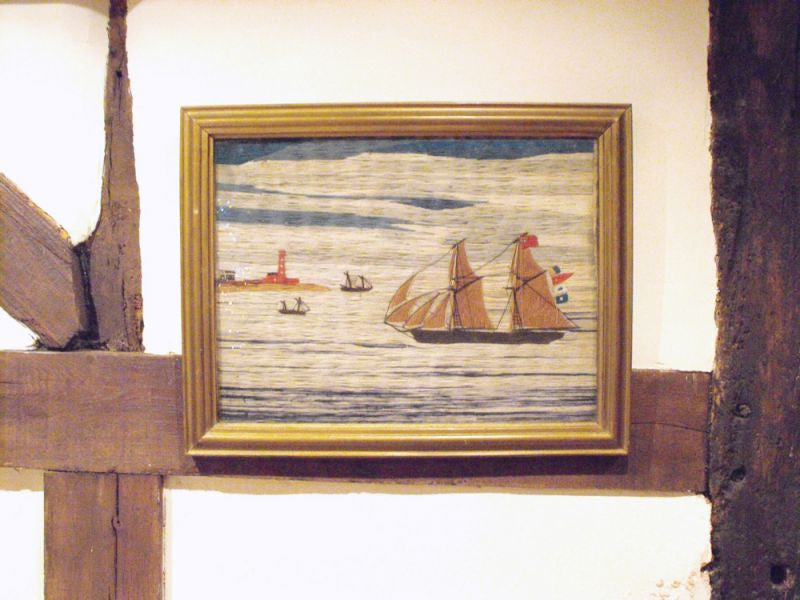 A Charming 19thC Sailor's Woolwork Picture Of A Two Masted Ship