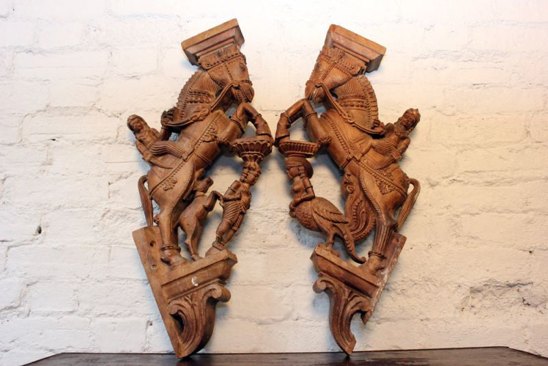 A Stunning Pair of Intricately Carved Wooden Indian Architectural Supports