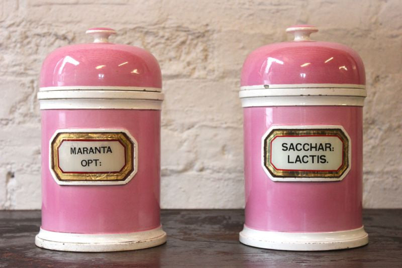A Fabulous Pair of 19thC Porcelain LUG Apothecary Jars for Lactose Sugar & Arrowroot by the York Glass Company