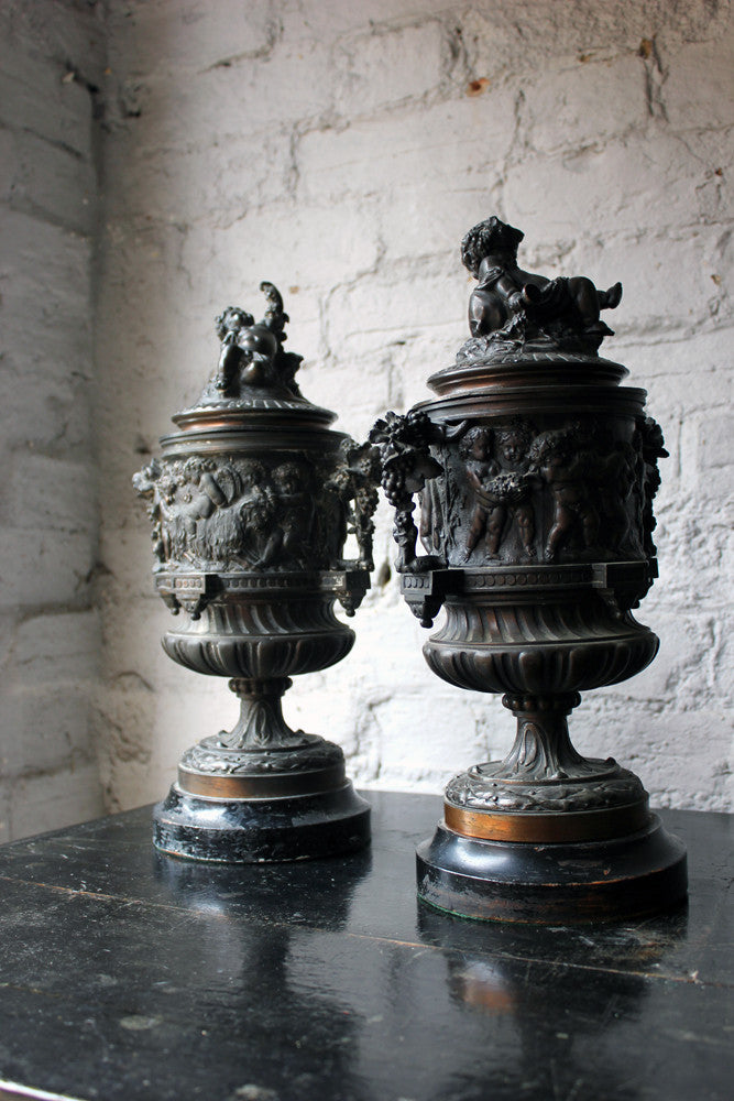 A Good Pair of Napoleon III Bronze Urns with Covers After Claude Michel Clodion c.1870