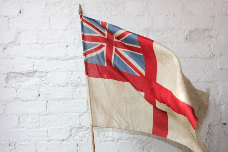 A Desirable British Antique White Ensign Union Jack Flag on Pole c.1910
