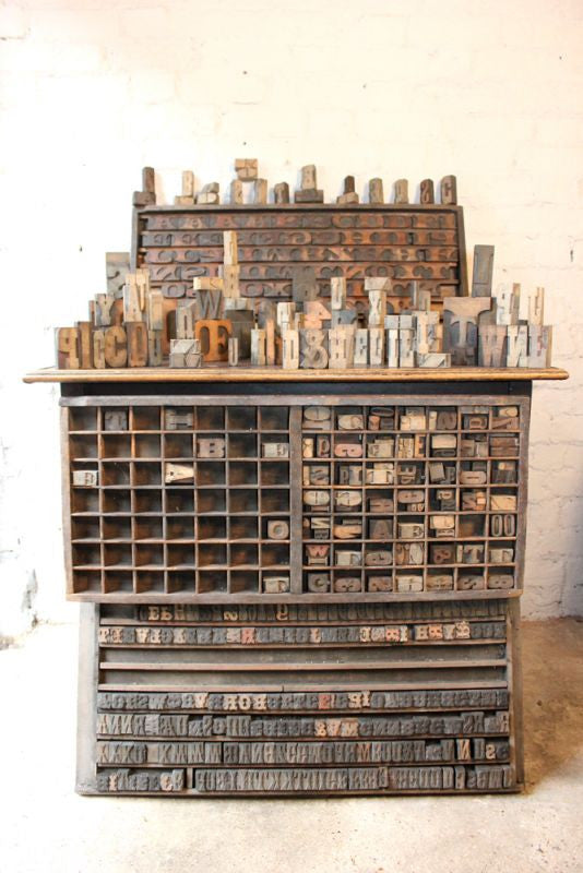 A Marvellous & Substantial Mixed Three Tray Set of Antique & Vintage Letterpress Wooden Printing Blocks