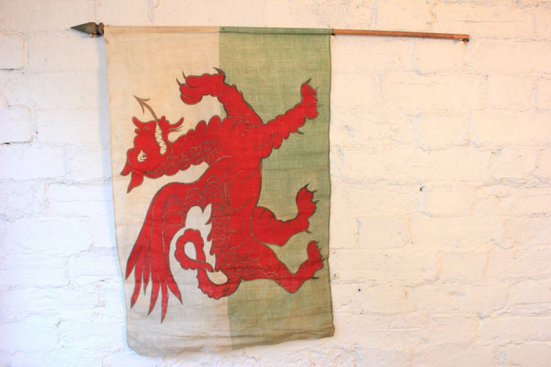 A Scarce Antique Welsh Red Dragon Flag on Pole c.1910-20
