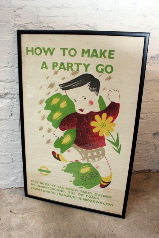 A Large Original Vintage London Transport Lithograph Poster 'How to Make a Party Go' by D M Earnshaw c.1938