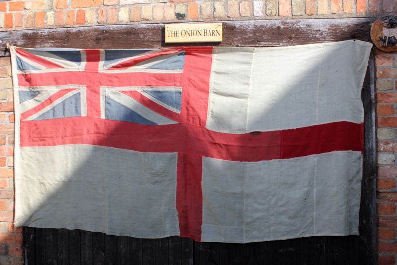 A Large Antique Royal Navy White Ensign Appliqué Flag; c.1910
