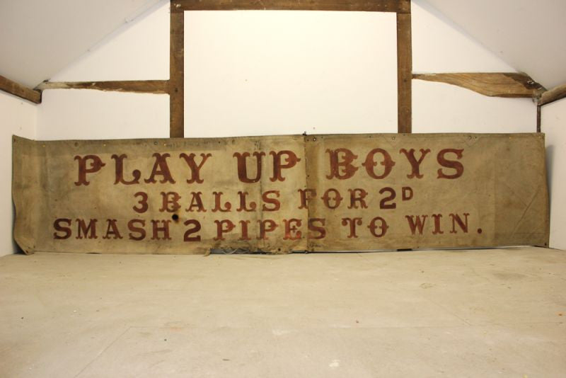 A Very Large & Highly Desirable Early Hand Painted Fairground Art Canvas Banner; 'Play Up Boys' c.1930