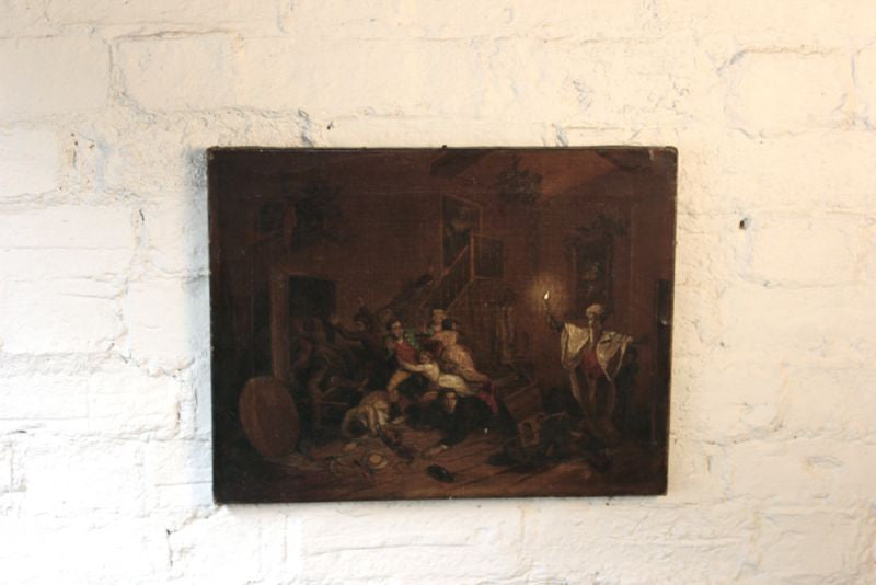 An Intriguing 19thC Continental School Oil on Canvas of Revellers Fleeing from a Ghostly Apparition