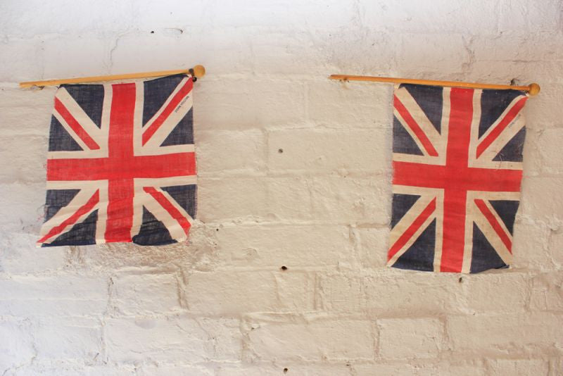 A Super Pair of Vintage Hand-Held Union Jack Flags c.1930-40
