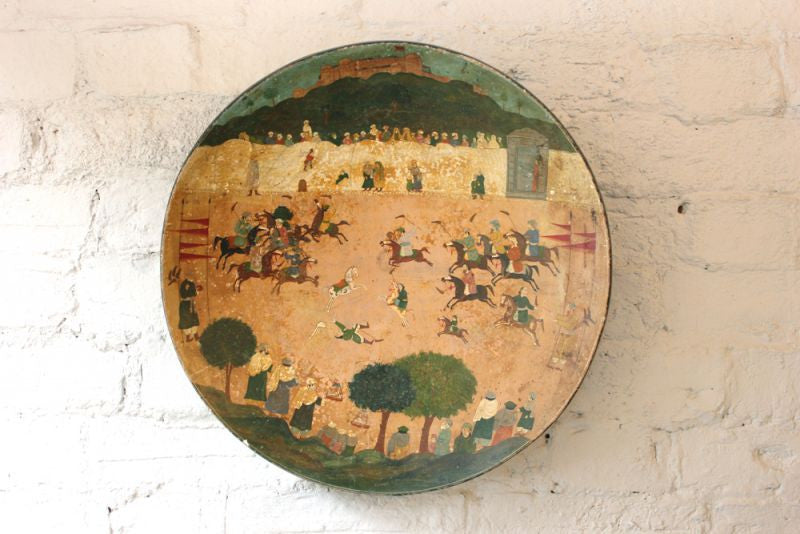 A Beautiful c.1900 Large Hand-Painted Polychrome Wooden Indian Bowl Depicting a Polo Match