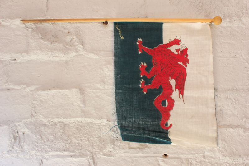 A Small Vintage Welsh Red Dragon Flag on Pole c.1940-50