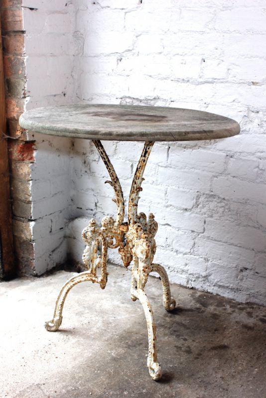 A Cracking 19thC White Painted Cast Iron & Pine Table