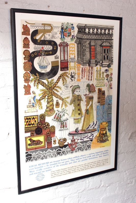 A Large Original c.1968 Vintage London Transport Lithograph Poster by Joy Simpson for Local Museums