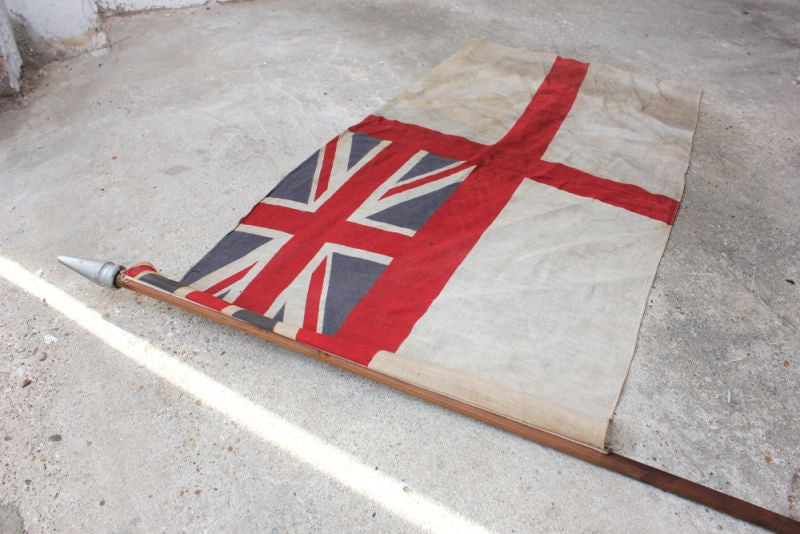 An Attractive British White Ensign Union Jack Flag Mounted on a Pole c.1925