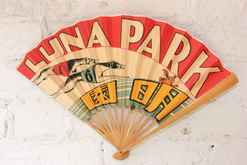 A Rare Art Deco Period Chinese Advertising Fan for 'Luna Park' c.1920-30
