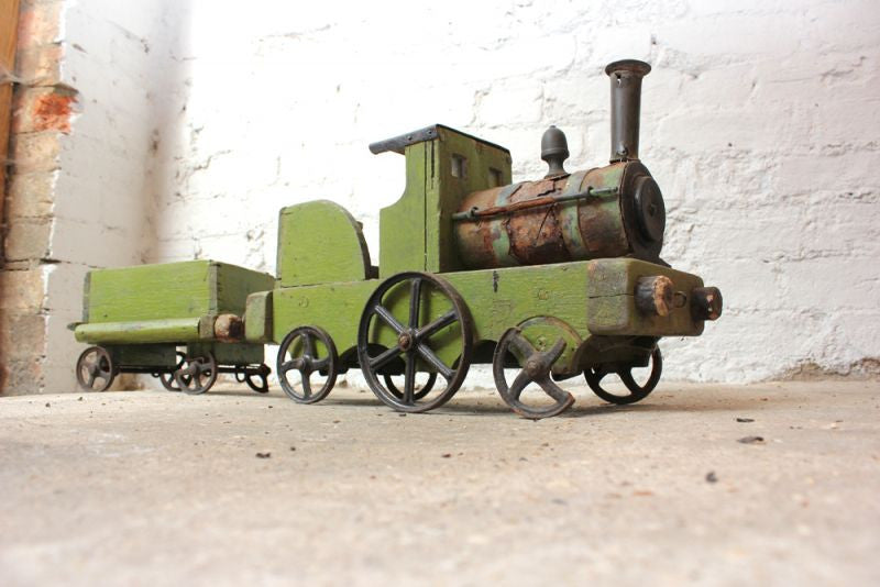 A Charming Early 20thC Primitive Wooden Model of a Victorian Locomotive Train With Tender