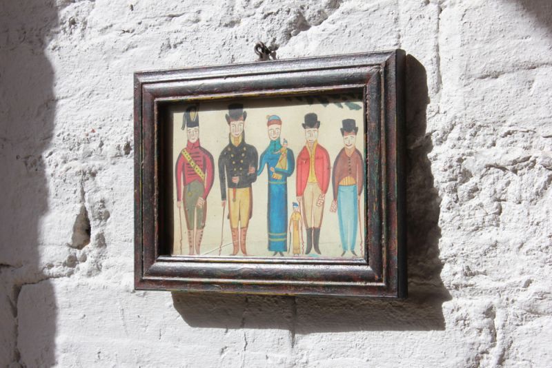 A Charming Small Primitive Watercolour Picture of an Early 19thC Family