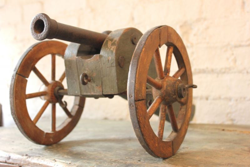 A Fantastic c.1830s Iron & Wood Model of a Six-Pounder Field Gun Cannon