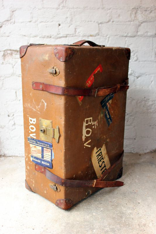 A Large Early 20thC Canvas, Leather & Wooden Bound Cabin Trunk by H. L. Pullin