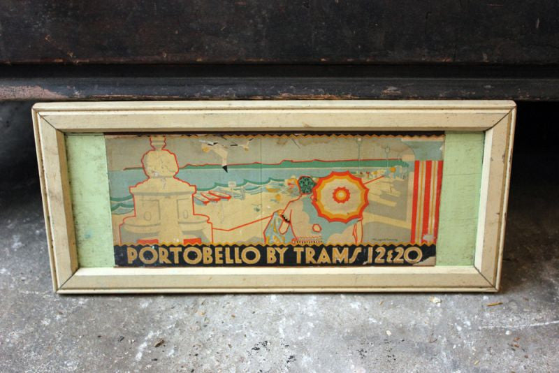 A Rare Early 20thC Travel Advertising Framed Poster: Portobello by Trams