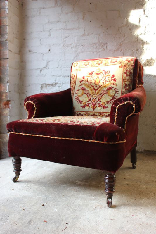 A Comfy Late 19thC Carpet Moquette Upholstered Armchair