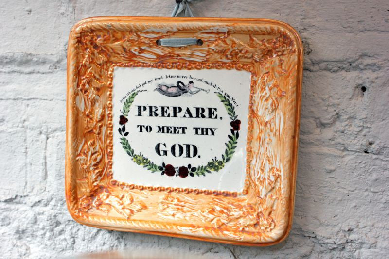 "A Rather Fun Mid 19thC Sunderland Orange Lustre Plaque ""Prepare to Meet Thy God"""