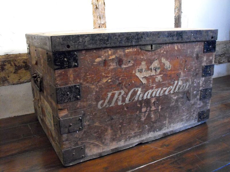 An Important Antique Pine & Iron-Bound Campaign Travelling Trunk formerly of Sir John Robert Chancellor (1870–1952)
