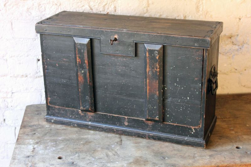 A Handsome Early 20thC Portable Table-Top Black Painted Pine Tool Chest
