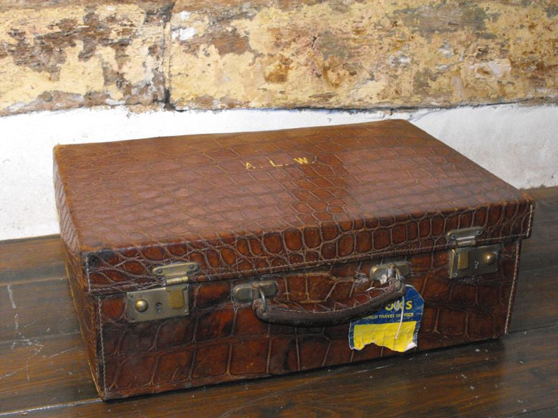 A Fabulous Crocodile Skin & Silk Lined Travelling Case of Drew & Sons, Piccadilly Circus, London