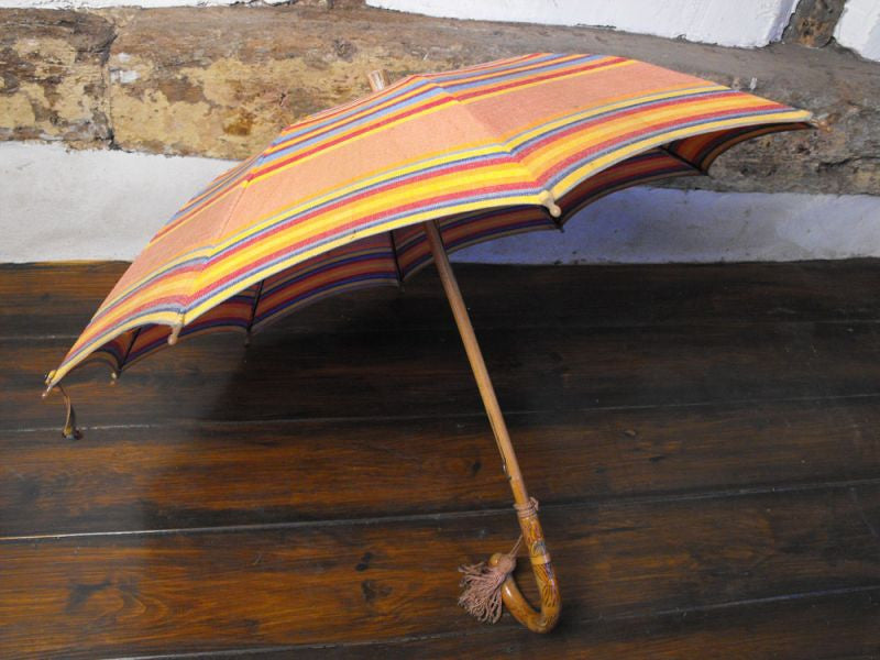 A Colourful 1930s Ladies Umbrella, Retailed by Bourne & Hollingsworth, With Original Paper Sleeve
