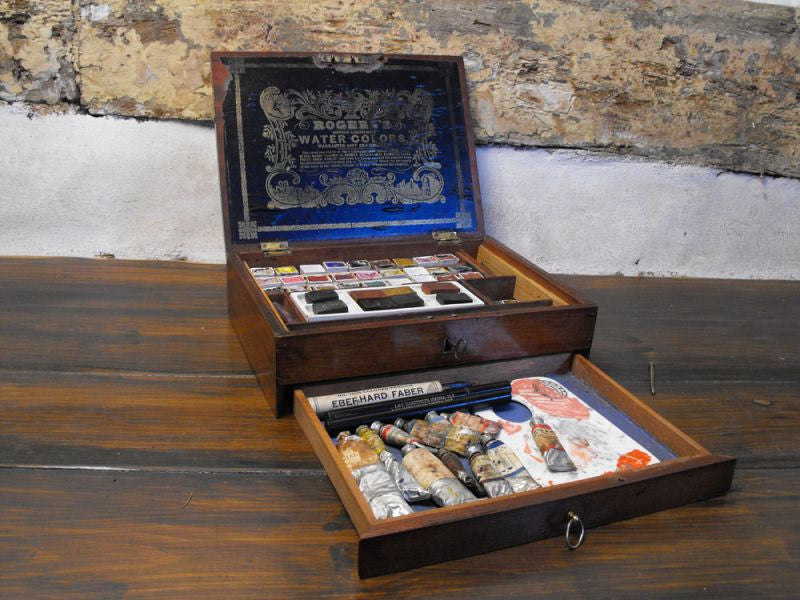 A Superb Victorian Mahogany Artist's Box, for Rogers; of London, Replete with Original Watercolours & Palettes