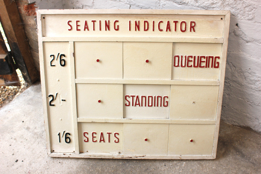 A Marvellous Mid 20thC Cream Painted Cinema Seating Indicator Sign