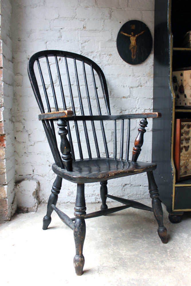 A Good Black Painted Stick-Back Windsor Armchair c.1820