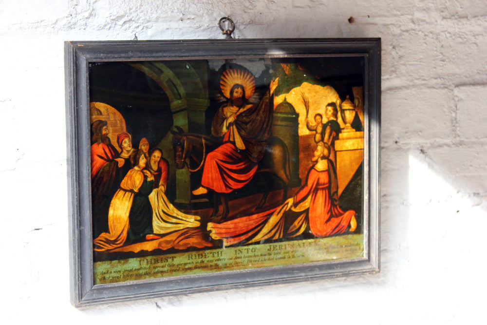 A Decorative Regency Period Transfer Mezzotint-Under-Glass Picture by W.B Walker; 'Christ Rideth into Jerusalem'