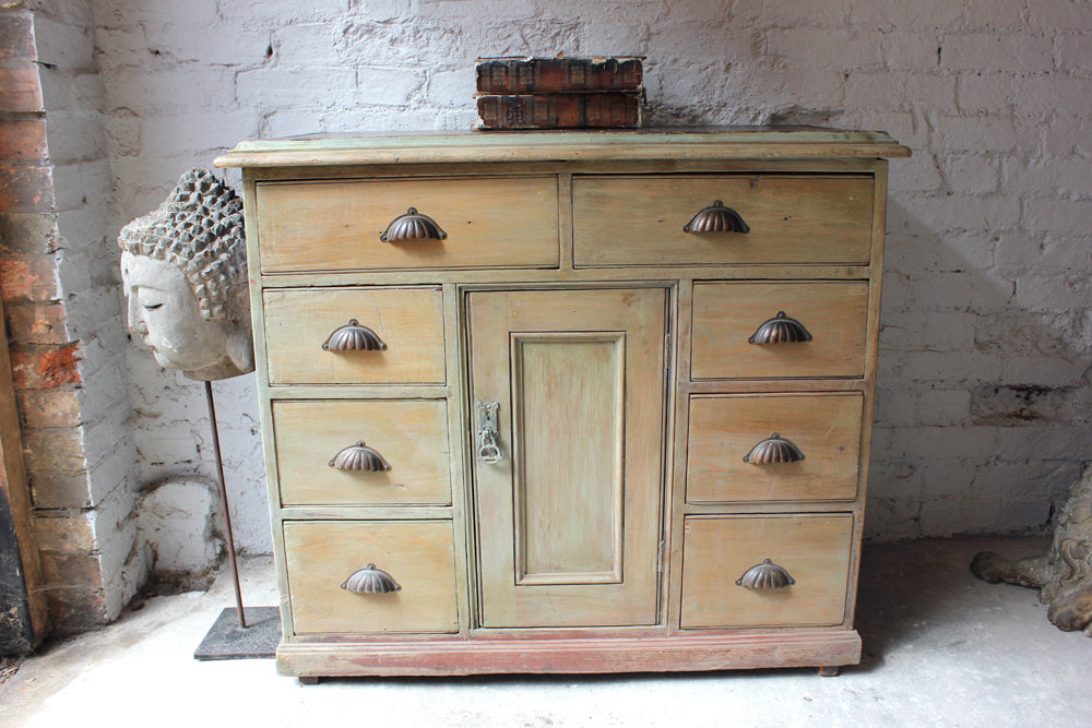 A Good Victorian Painted & Stained Pine Side Cupboard c.1880