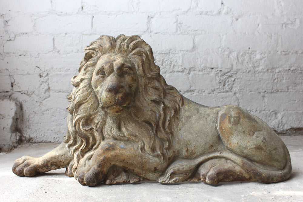 A Very Good c.1880 Cast Iron Relief Model in the Form of a Lion Couchant