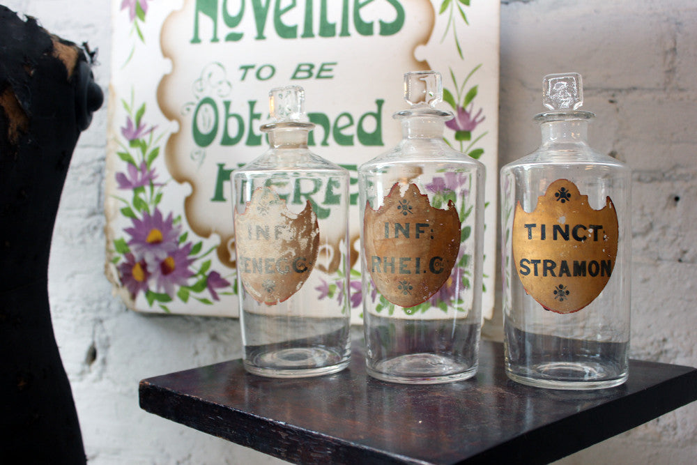 A Superb Trio of c.1870s Glass Apothecary Bottles for Senega, Rhubarb & Thorn Apple