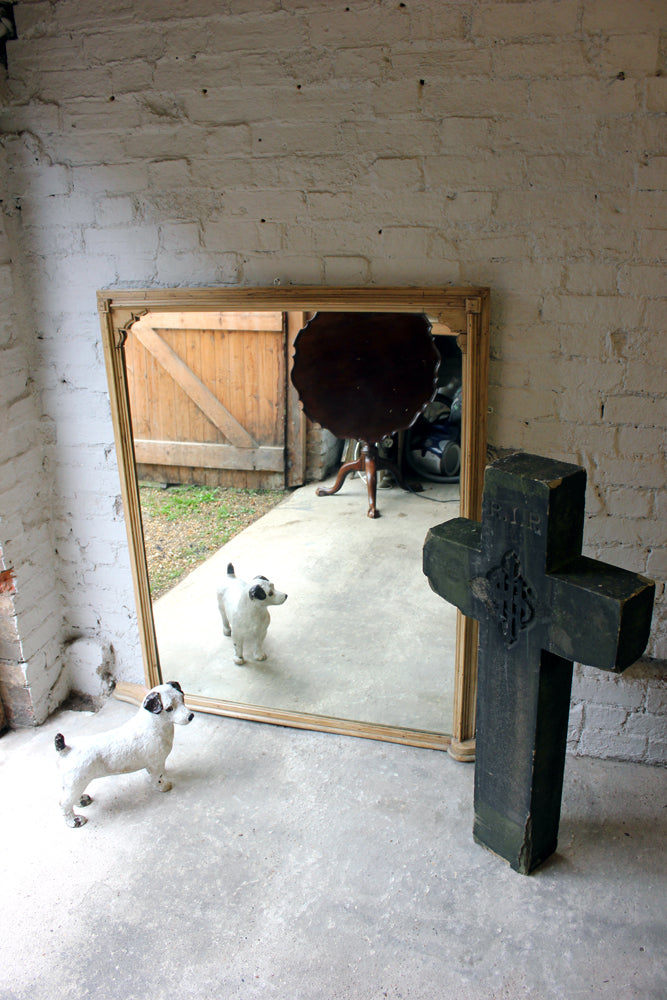 A Good Large c.1900 Pine Framed Overmantle Mirror