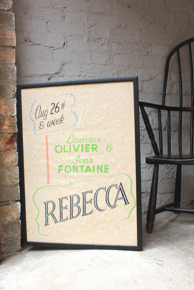 A Unique Hand-Drawn & Watercolour Painted c.1940 Guernsey Film Advertising Poster; Rebecca
