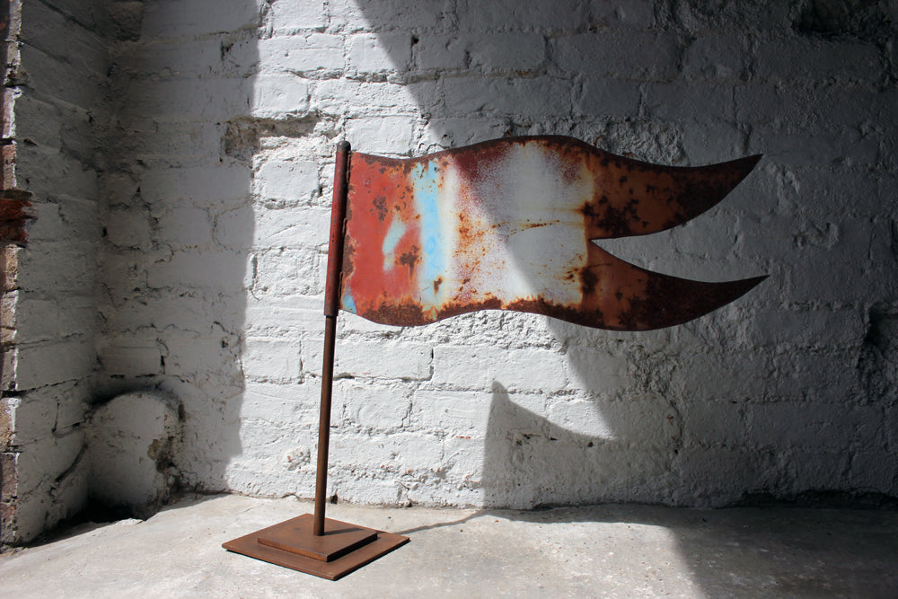 A Decorative c.1900 Folk Art Cut Metal Weather Vane Finial in the Form of a Flag