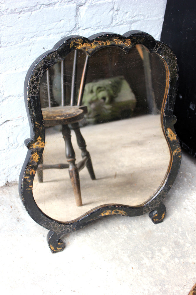 An Attractive Early 20thC Japanned Chinoiserie Decorated Dressing Table Mirror