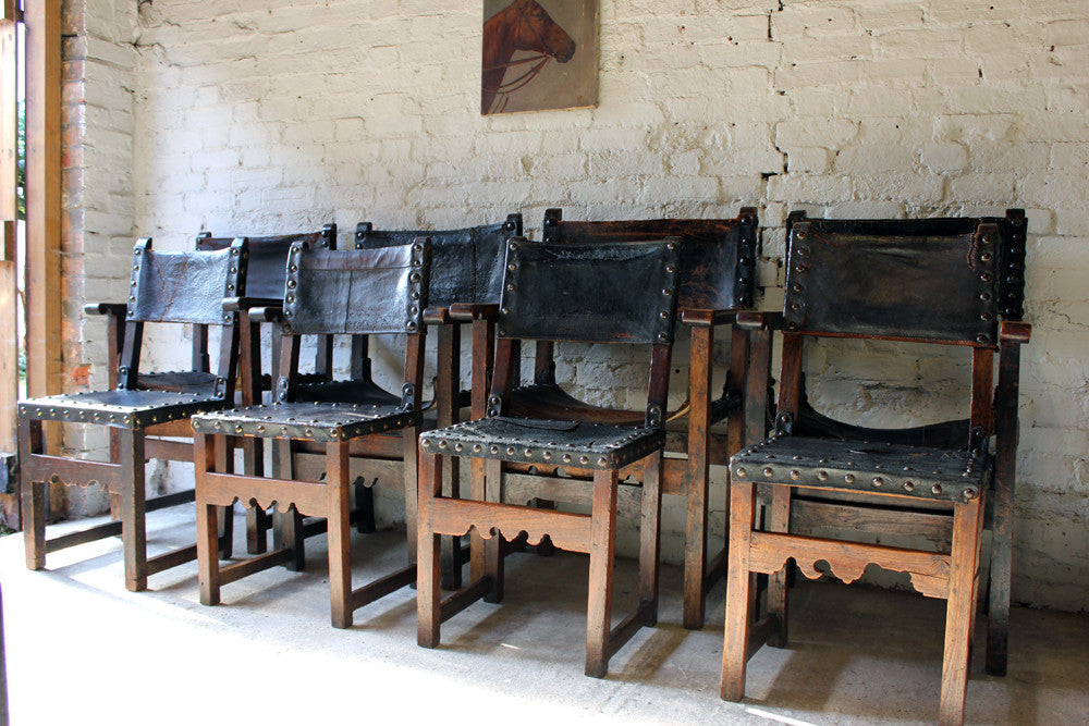 A Wonderful Set of Eight Early 18thC Spanish Walnut Baroque Period Dining Chairs