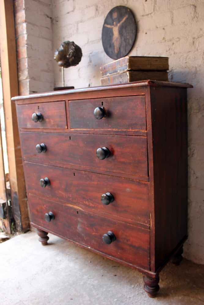 A Handsome Mid-Victorian Stained Pine Chest of Drawers c.1860-70