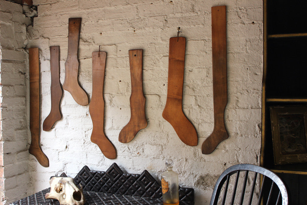 A Fabulous Group of Seven 19thC Beechwood & Pine Stocking Stretchers