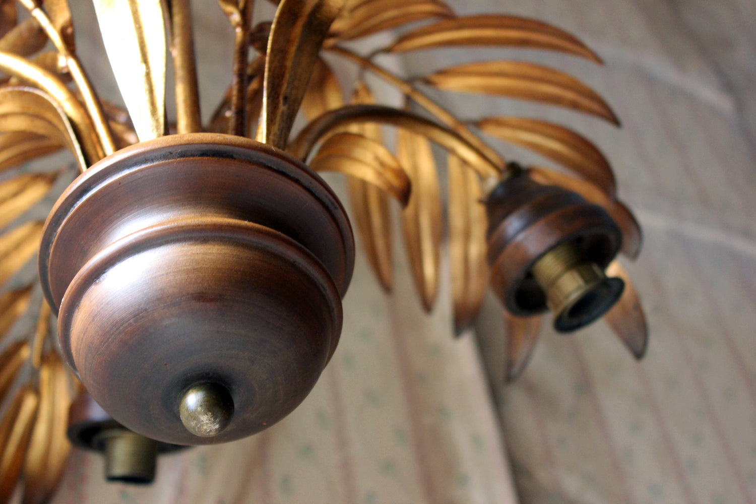 A Beautiful Maison Jansen Style Naturalistic Gilt-Metal Palm-Leaf Formed Five-Branch Hanging Light c.1970