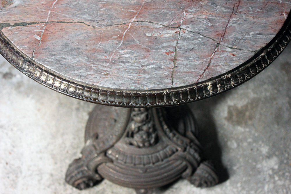 A Good Victorian Cast Iron & Portasanta Brecchia Marble Topped Circular Occasional Table c.1870-80