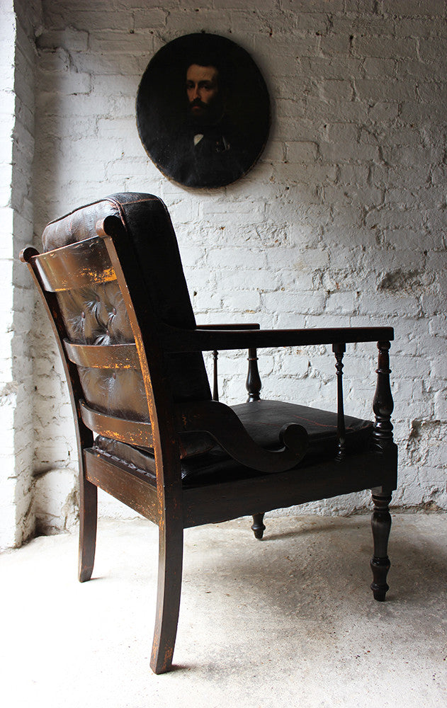 A Marvellous c.1900s Rexine Upholstered & Oak Framed Open Armchair of Masonic Interest