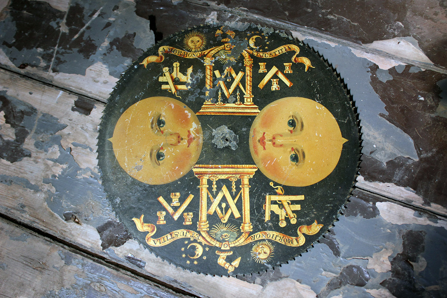 A c.1800 English Painted Brass Masonic Longcase Moonphase Clock Dial
