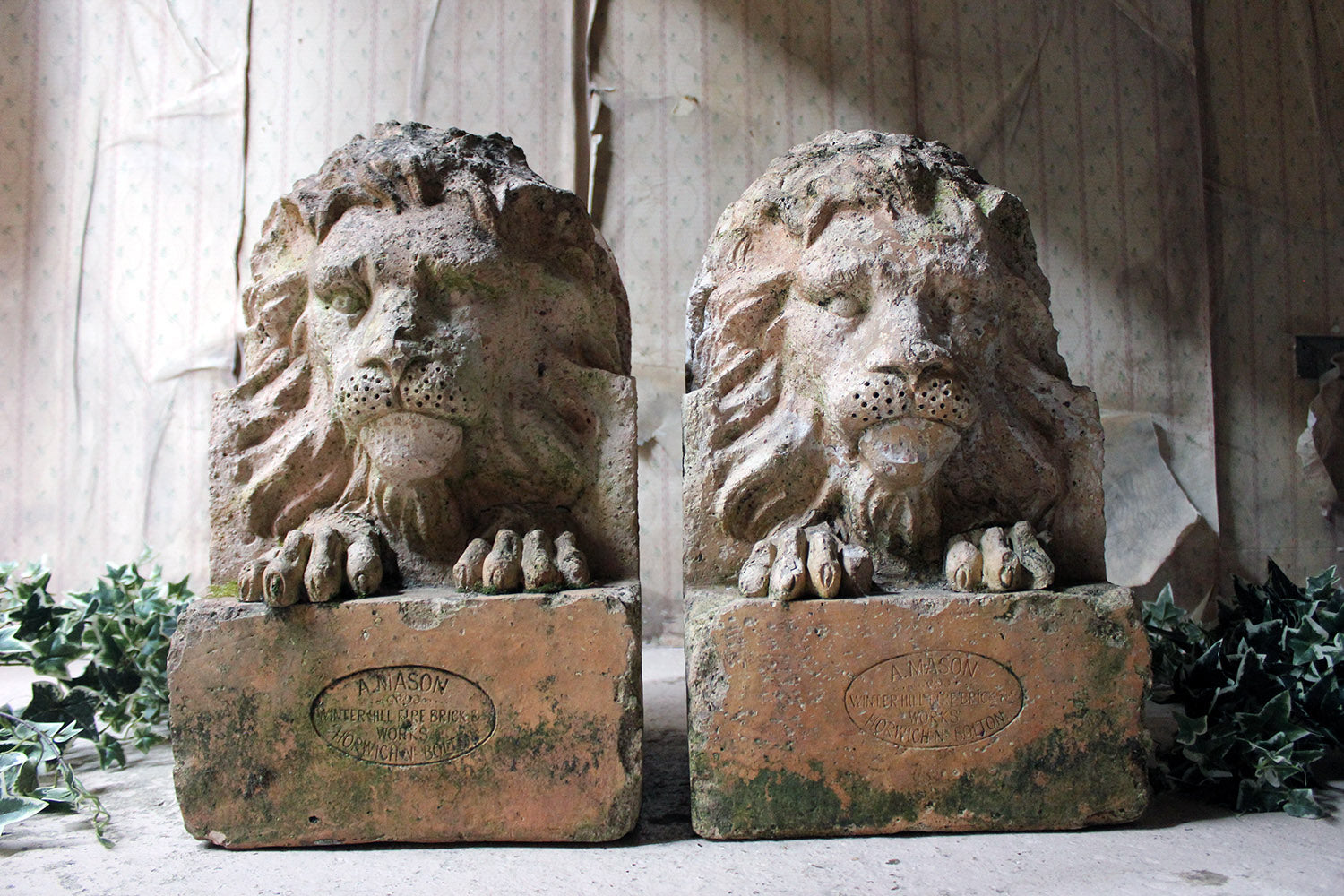A Good Pair of c.1900 Terracotta Lions by Adam Mason & Sons of Horwich, Lancashire