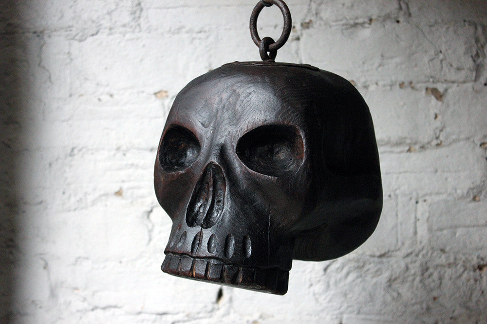 A Quite Wonderful 18thC Carved Oak & Iron Mounted Memento Mori Doorstop Carved as a Human Skull