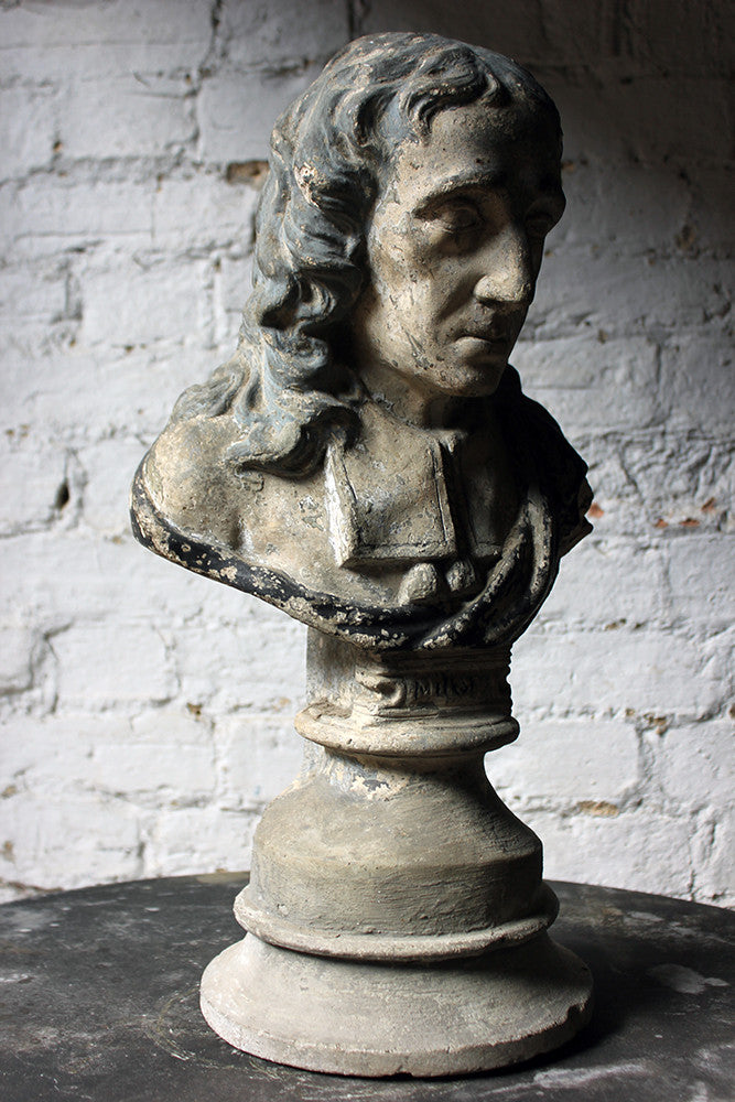 A Decorative Late Victorian Painted Plaster Portrait Library Bust of John Milton c.1890